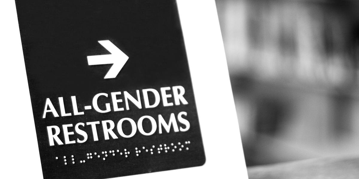 All-gender restrooms sign