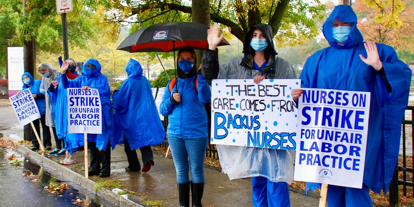 backus nurses strike in the rain