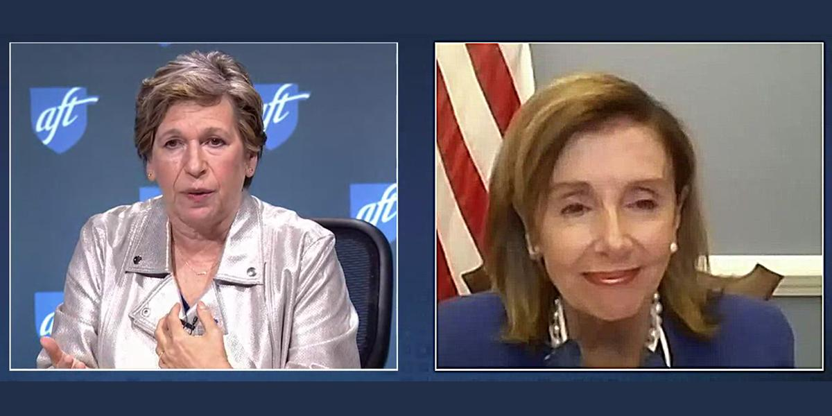 Randi Weingarten and Speaker Pelosi on 2020 Convention zoom call