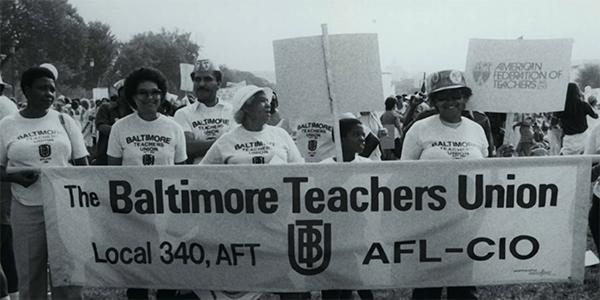 Lorretta Johnson marches with Baltimore Teachers Union