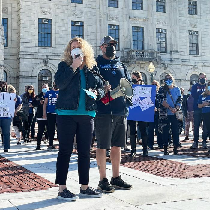 speakers at the providence teachers union rally