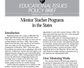 Mentor Teacher Programs in the States